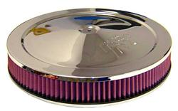 Air Filter Assembly, 14 in. Diameter, Round, Steel/Chrome, K&N L