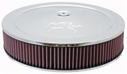 Air Filter Assembly, 14 in. Diameter, Round, Steel, Chrome, K&N