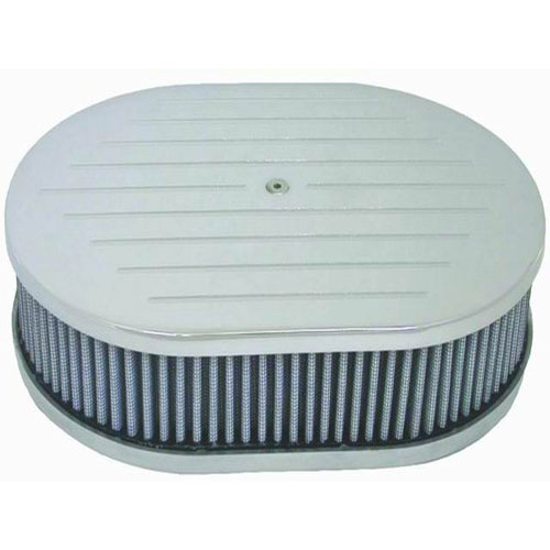 "Polished Aluminum 12"" x 2"" Oval Air Cleaner Set - Ball Milled &"